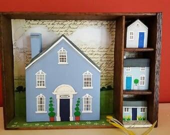 The big Blue House - mixed media story box