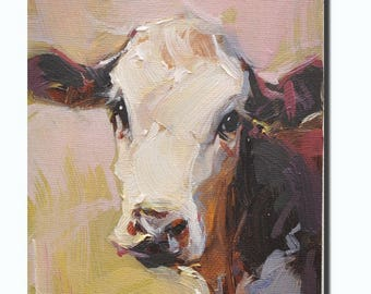 Western cow portrait Original oil Painting  on canvas panel 12CMX18CM