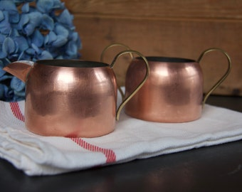 Vintage Copper Cream & Sugar Set