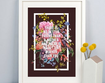 Personalised Print for Mum, Mothers Day, Gift for Mum, Mother's Day Gift, Mum Gift, Personalised Print, Florals, Type, Quote, Mum Quote
