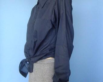 navy blue mens shirt, vintage mens shirt, butterfly collar, menswear