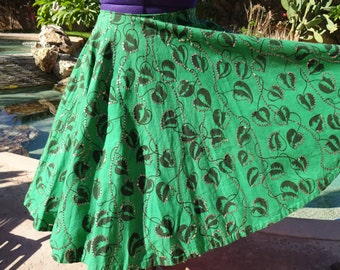 """Vintage 1950s 50s Mexican handpainted full circle skirt sequins M 30"""" waist cotton rare emerald"""