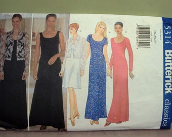 Women's long dress and jacket pattern, Butterick pattern 5314  Womens sizes