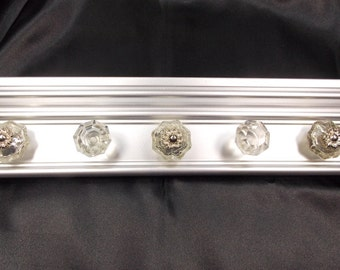 GRAY Jewelry Organizer, Wall Jewelry Organizer, READY To SHIP Jewellry Organizer with Clear Glass & Silver Knobs, Jewelry Gift Under 35
