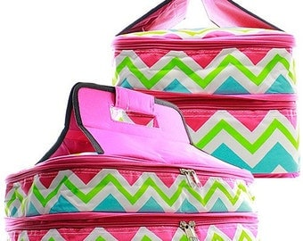 Personalized Casserole Carrier, Double Insulated Pink Casserole Bag, Embroidered Casserole Tote, Chevron Print Casserole Carrier