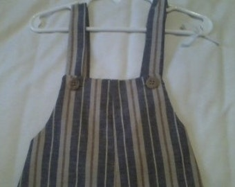 6 to 9 Month Tan and Blue Striped Overalls