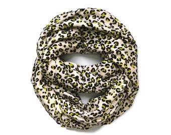 Leopard Scarf, Animal Print Scarf, Eternity Scarf, Infinity Scarf, Womens Scarves, Gift for Her, Teen Scarf, Under 15 Dollars, Ready to Ship