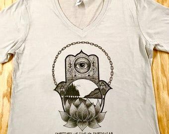 Ladies V Neck Silver Third Eyes of the World Hamsa Lotus Tee
