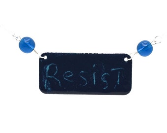 RESIST Sgraffito Necklace to Benefit VA ACLU Free Ship