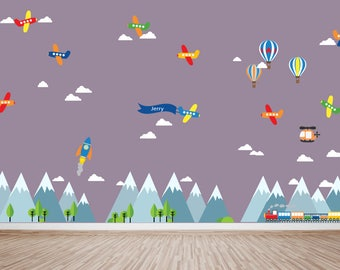 Mountain Decal, Kids Room Decal, Boys Girls Planes Fabric Decals, HUGE DECAL, Ecofriendly No Toxins No PVCs Decals, WDm471H