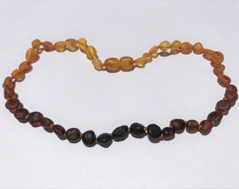 "GENUINE Baltic Amber Baby Teething Necklace - RAW Unpolished Ombre Lemon, Honey, Cognac, & Cherry Baltic Amber Beads- (13"")"
