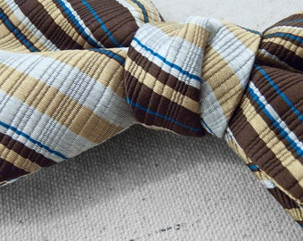 Striped BOW Tie 1960s Gold Brown Cerulean Adjustable Formal Men's Accessories