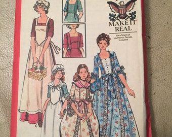Butterick 4261, 1776 Costumes, girls size 10, Dolly Madison,