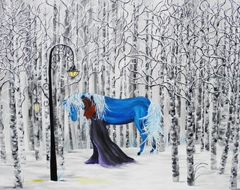 giclee, 18x24 print on canvas, fantasy art, horse and girl, horse art, home decor, steampunk, fairytale art, fine art, frozen, aspen trees