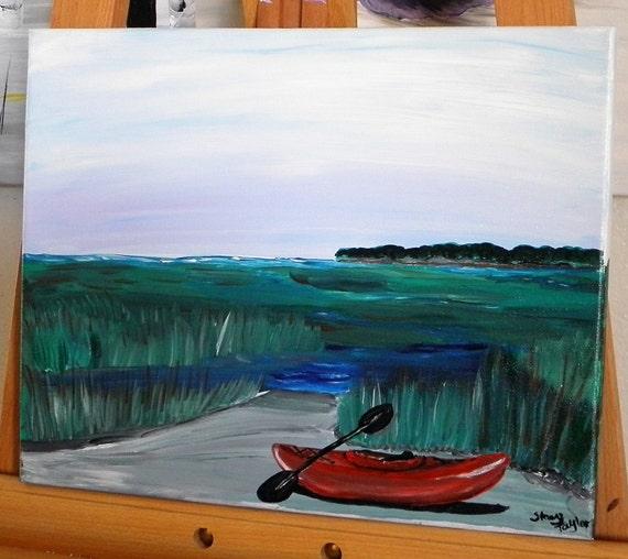 red kayak painting, marsh on the coast, coastal art, beach house art, fine art, fun art, kayak