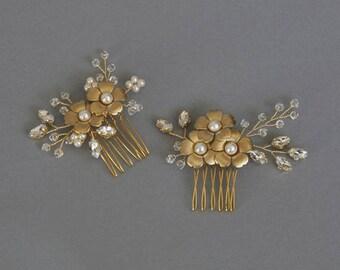 Flor de peine, tocado de novia, flores tocados, accesorios boda, oro pieza, peine nupcial, oro peine del pelo, peluca - listo para enviar