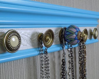 You choose 5, 7 or 9 knobs  Necklace wall rack.  Blue  Jewelry organizer. Closet storage and organization. great jewelry  gift