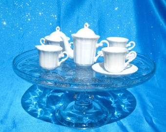 Miniature White China Tea Set Porcelain Miniature Tea Set White Toy Tea Set Miniature Teapot Miniature Cream and Sugar Playscale Tea Set