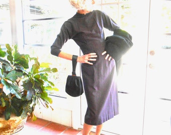 RESERVED Vintage wiggle dress mid century striped below elbow sleeve 1950's slim silhouette: XS, extra small