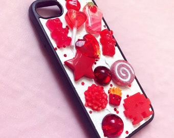 Red Kawaii Decoden OOAK iPhone 7 Phone case