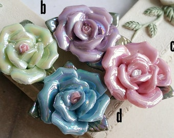28mm Two Holes and Flat Back Glazed flower Porcelain Roses  (t.s)