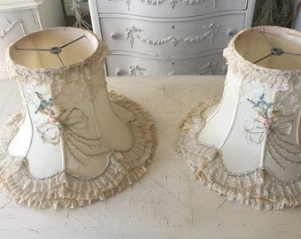 Absolutely stunning and perfectly tattered tambour lace and gorgeous ribbon-work detail large lampshades