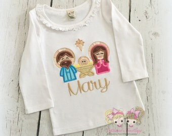 Nativity Christmas shirt - Baby Jesus shirt - First Christmas shirt - Baby's 1st Christmas - Nativity scene embroidered shirt