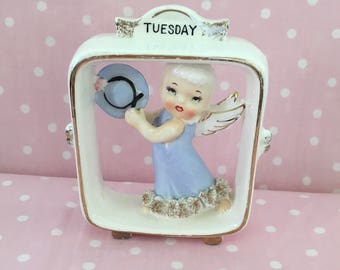 Tuesday Angel ~~ Vintage Lefton Day of the Week Angel ~~ Angel in Frame ~~ #6883