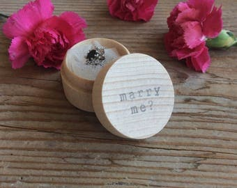 Engagement ring box / proposal box / marry me proposal / small wooden box