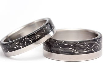 Set of two titanium and carbon fiber wedding bands. Unique black rings. Water resistant and hypoallergenic. (00332_5N8N)