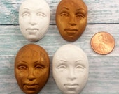4 Polymer Clay Molded Faces