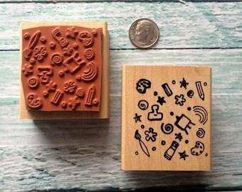 Artist Background Rubber Stamp