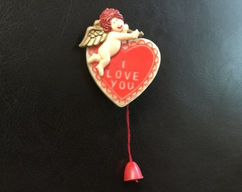 Vintage Hallmark Valentines Day Heart Pin / Brooch with Moveable / Motion Cupid and Bow