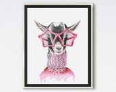 Polly - Goats of Anarchy - Goat Print - Goat Art - Funny Art - Animal Art - Animal Portrait - Animal in Glasses - Watercolor - Goat Gift
