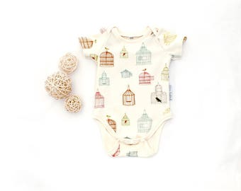 Organic cotton baby bodysuit bird cage short or long sleeve baby bodysuit baby one piece