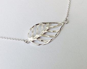 Falling Leaf pendant Autumn necklaces Skeleton leaf - Sterling Silver (925)