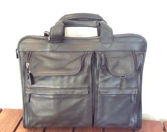 Vintage Authentic El Portal Black Leather Briefcase Bag