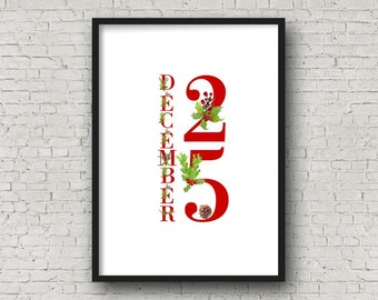 DECEMBER 25 Red CHRISTMAS Alphabet Printable, DIY Wall Art, Cards, Crafts, Easy to download and print.