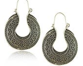Pair of Handmade Antique Silver Earrings, Bohemian Earrings, U Shape Flower Earrings 38mm