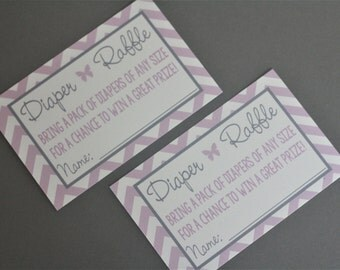 "8 - PRINTED 4.25"" x 2.75"" Diaper Raffle Cards - Baby Shower Decorations & Games - Made to Match ANY Design in My Shop"