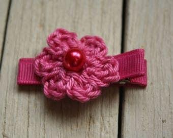 Crochet Flower Alligator Hair Clip with Non-Slip Grip in Cerise Pink