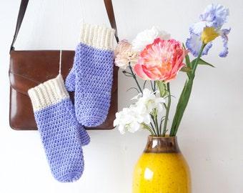 Periwinkle Mits Crochet Pattern PDF Mitten Winter Gloves Written Tutorial Warm Woolens