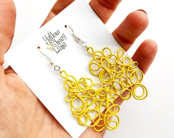 Yellow Wire Earrings Bright Quirky Statement Earrings