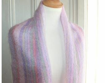 Vintage mohair scarf, pastel colors,Royal Scot brand
