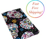 Day Of The Dead Fabric Checkbook Cover, Woman's Wallet, Women's Checkbook Wallet, Sugar Skull Checkbook, Check Book Cover, Wallets For Woman