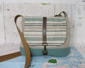 Wyoming // Crossbody messenger bag // Adjustable strap // Vegan purse // Crossover bag // Travel purse // Stripes // Mint // Ready to ship