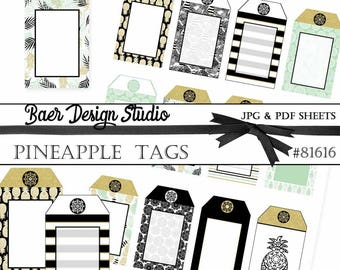 Pineapple Tags, Printable Tags, Wedding Favor Tags, Gift Tags, Favor Bag Tags, Jewelry Cards, Thank you tags,  #81616