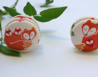 Fridge Magnets Set of 2 Fox Mama and Babies, Woodland Theme Fridge Magnets Fabric Button Magnet 38mm (1 1/2 inch)