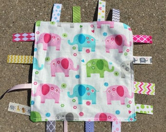 Colorful Elephants Tag Blanket with your choice of Minky // In Stock, READY TO SHIP