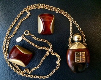 Givenchy Necklace Earrings Set - 1977 - Collectible Perfume Bottle Design